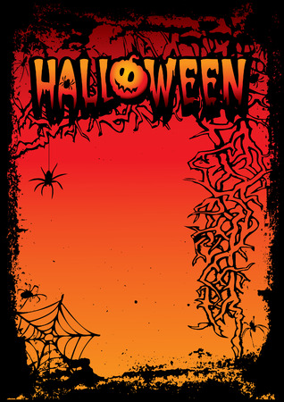 Halloween night.  art-illustration on a red background. Vector