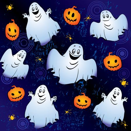 Halloween night.  art-illustration on a blue background. Stock Vector - 6471016