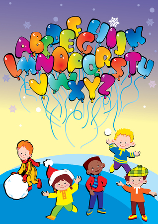 Happy kids playing with balloons in the form of the alphabet.  art-illustration. Vector