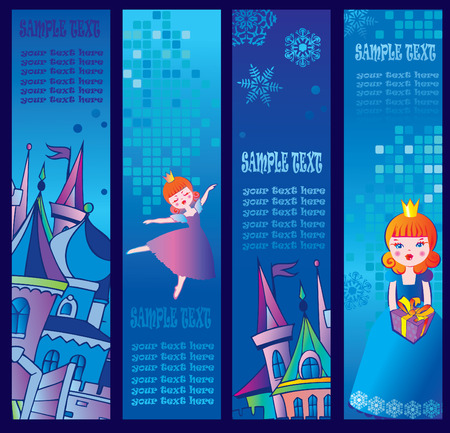 Set of four vertical winter banners.Place for sample text.  art-illustration. Vector