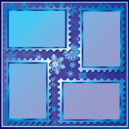 card holder: Set of four winter photo frames.  art-illustration on a red background.