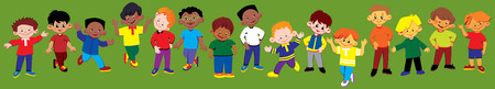 gladness: Happy boys of different nationalities play together.  art-illustration.