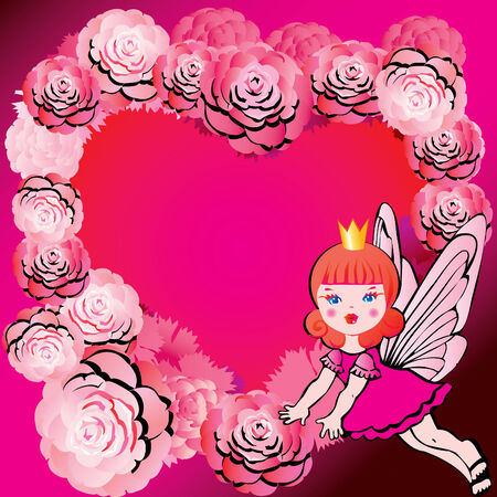 Princess in Love. Fairy-tale.  art-illustration on a pink background. Vector