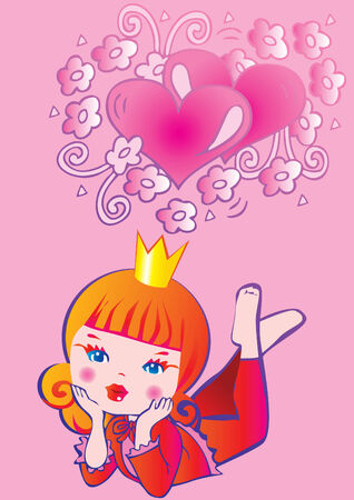 Princess dreams.  Fairy-tale. rt-illustration on a pink background. Vector