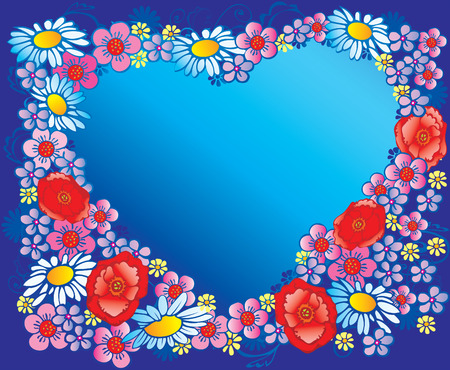 Silhouette of the heart made of flowers. Place  for sample text. art-illustration. Vector
