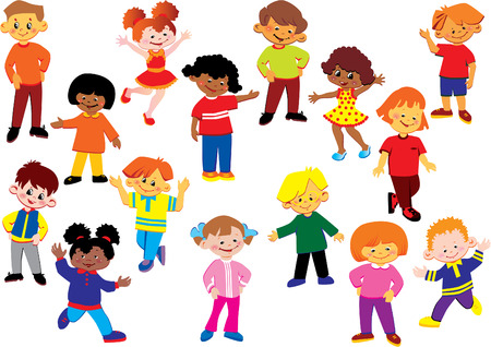 gladness: Happy kids of different nationalities play together. art-illustration on a white background.