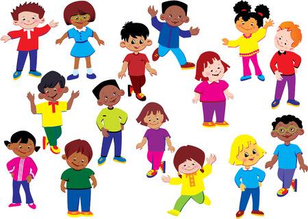 Niños felices de distintas nacionalidades jugar juntos.  arte-ilustración sobre un fondo blanco.