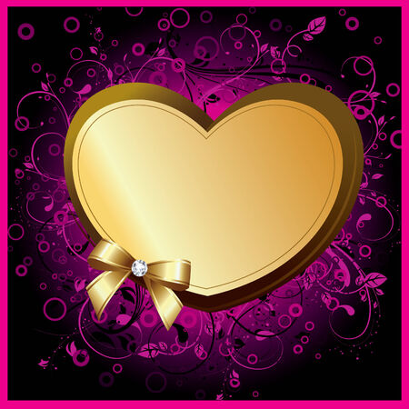your text: Heart on floral background. Valentine card. Place for your text. Vector art-illustration.