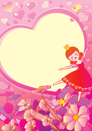 Princess on floral background. Valentine's Day. Place for your text.  art-illustration. Иллюстрация