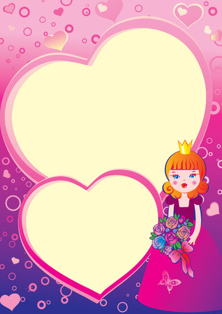 Princess in love on the background of hearts. Valentines Day. Place for your text. art-illustration. Vector