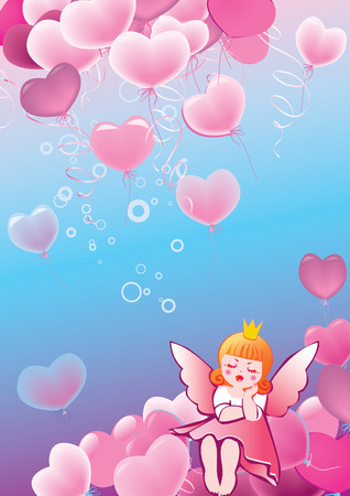 Princess in love on the background of hearts. Valentines Day.  art-illustration. Vector