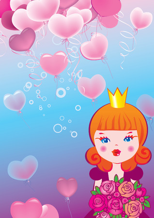 Princess on the background of hearts. Valentines Day.  art-illustration. Vector