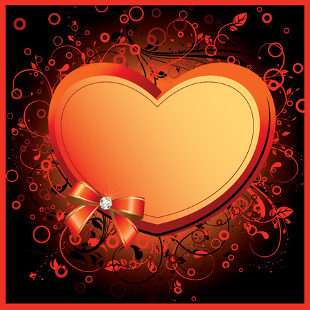your text: Heart on floral background. Valentine card. Place for your text. art-illustration.