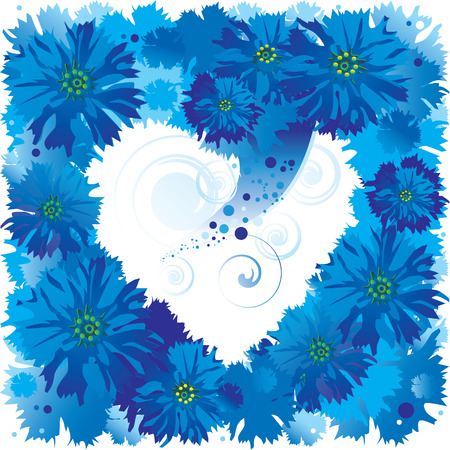 Silhouette of the heart made of cornflowers. Place  for your text. art-illustration. Vector