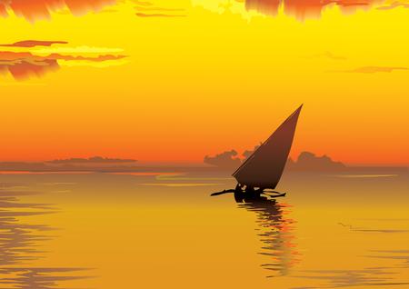 Beautiful voyage at sunset. art-illustration. Vector