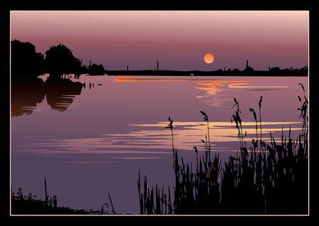 mere: A beautiful sunset on the river.  art-illustration. Illustration