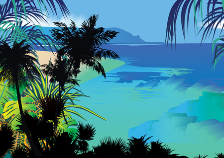 Tropical palms on the background of the ocean.  art-illustration. Vector