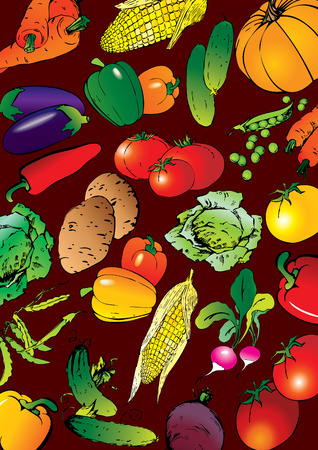 Collection of different vegetables on a red background. art-illustration. Stock Vector - 6568438