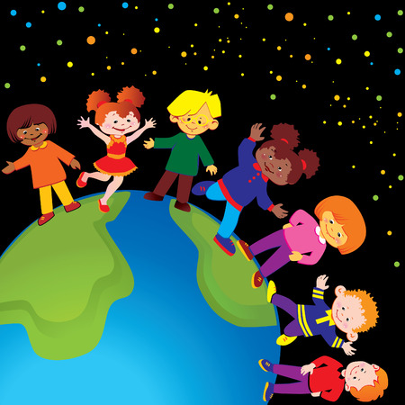 Happy kids play together around the world. art-illustration. Vector
