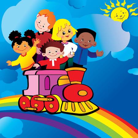 brotherhood: Happy kids riding over the rainbow by train. Happy childhood. art-illustration .