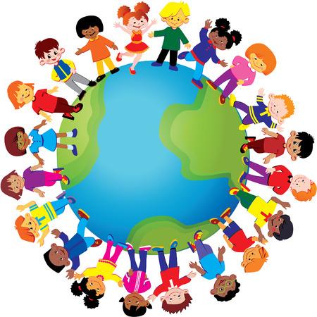 multicultureel: Gelukkige jonge geitjes van verschillende nationaliteiten spelen samen over de hele wereld. kunst-illustratie op een witte achtergrond. Stock Illustratie