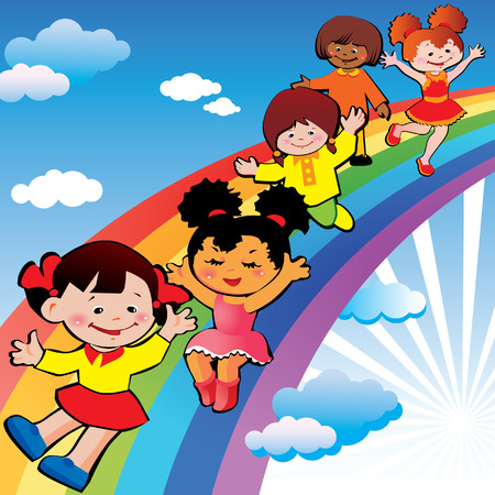 Children on rainbow slide.   art-illustration on a blue background. Illustration