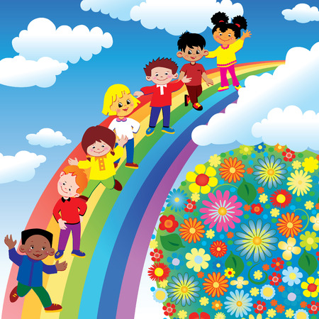 Children on rainbow slide. art-illustration on a blue background. Illustration