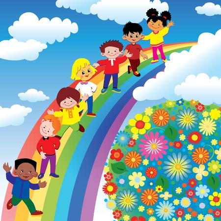 multicultureel: Kinderen op rainbow dia. Art-illustratie op een blauwe achtergrond.