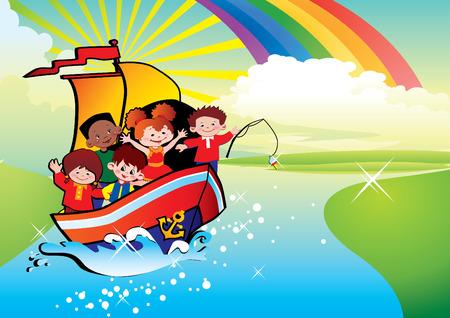 Enfants flottant par un bateau. Enfance heureuse. art-illustration.