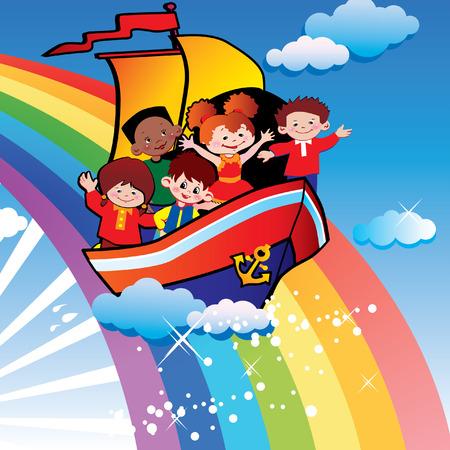 gladness: Children  floating  over the rainbow. Happy childhood. art-illustration. Illustration