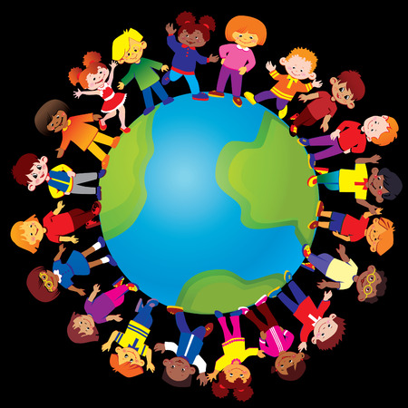 Happy kids of different nationalities play together around the world. art-illustration on a black background.