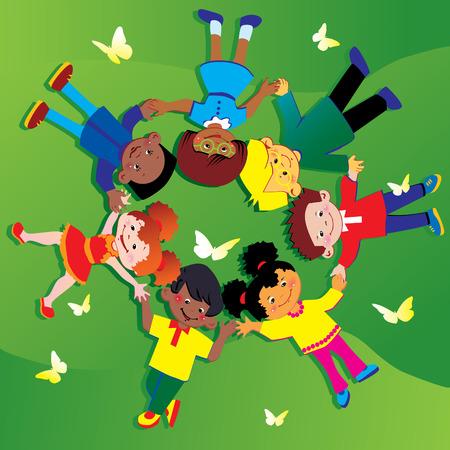 multicultureel: Gelukkige kinderen van verschillende nationaliteiten, spelen samen op het gras. Gelukkige jeugd. kunst-afbeelding op een groene achtergrond.