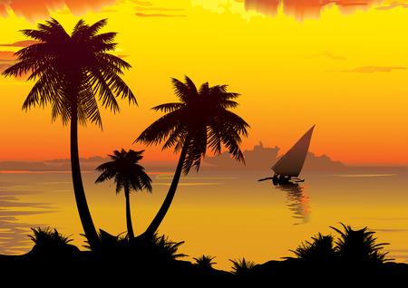 Brzegu Oceanu z palmy. Sztuka ilustracji.