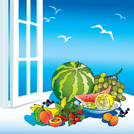 Beautiful fruits on the window. Healthy food.  art-illustration. Vector