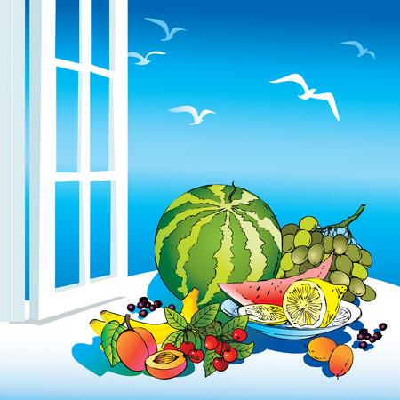 fruited: Beautiful fruits on the window. Healthy food.  art-illustration.