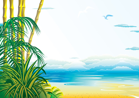 birds of paradise: Jungle on the ocean background. art-illustration.