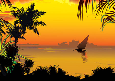 tropics: Silhouettes of palms on a ocean background. art-illustration.