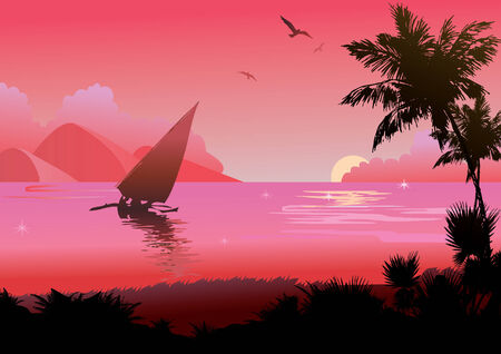 A tropical beach at sunset. art-illustration. Vector