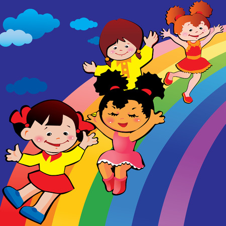 rainbow slide: Children on rainbow slide.   art-illustration on a blue background. Illustration