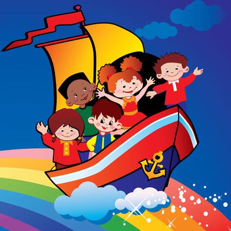 Children  floating  over the rainbow. Happy childhood. art-illustration. Vector