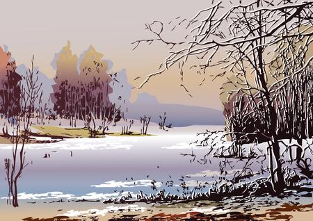 winter garden: Spring landscape in sunny weather.  art-illustration. Illustration