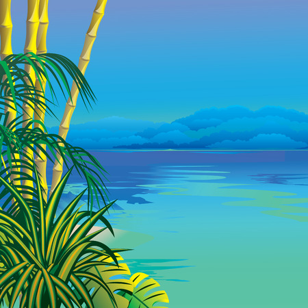 Tropical beach. art-illustration.   Vector