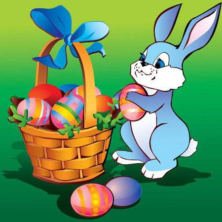 Little bunny with easter basket and eggs.  art-illustration. Vector