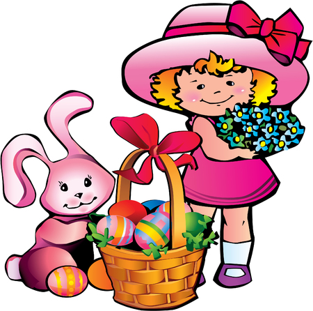 bonnet: Little girl with easter bunny. Happy Easter.  art-illustration.