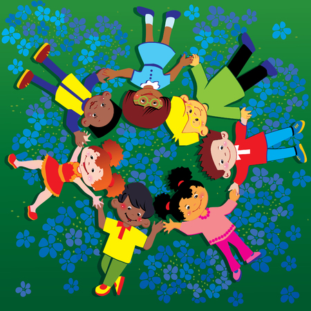 Happy kids of different nationalities play together on the grass. Happy childhood. art-illustration on a green background. Illustration