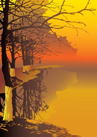 river trunk: Sunrise in the park.  art-illustration. Illustration