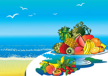 salubrious: Plate of beautiful fruits against the sea background. Salubrious food. art-illustration.