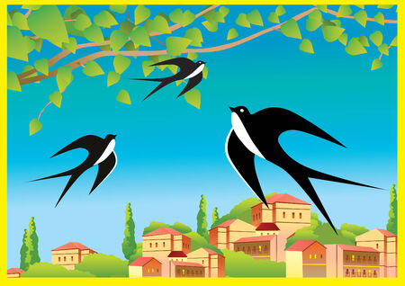 house fly: Spring landscape with flying swallows. art-illustration.