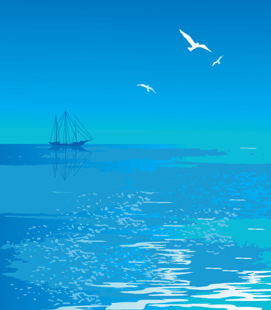 mew: Seascape with a view of the yacht. art-illustration.