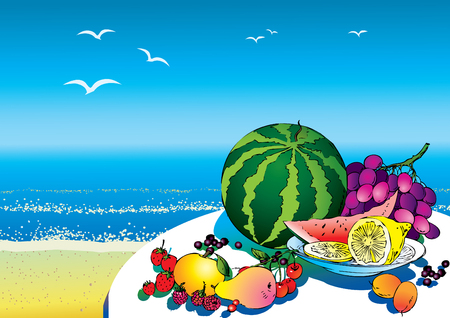 salubrious: Beautiful fruits against the sea background. Salubrious food. art-illustration. Illustration